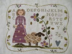 Curly Q Ewe - Little House Needlework Little House Needleworks, Pattern Blocks, Needle And Thread, Cross Stitch Embroidery, Sheep, Textiles, Tapestry, Sewing, Projects