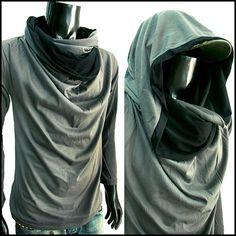 New Men Longsleeve Turtle Cowl Neck Hoodie Scraf Shirt Top Size s M L XL | eBay