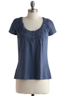 Ruching around the neckline; beautiful color: Swell Said Top, #ModCloth