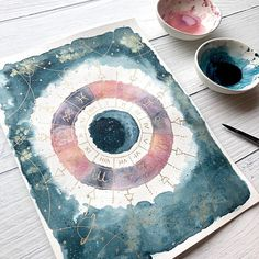 It's been a while since I just freely painted on a piece of watercolor paper! I was inspired to create an astrology wheel as I was reading… Watercolor Galaxy, Watercolor Paper, Watercolor Paintings, Mini Canvas Art, Witch Art, Galaxy Art, Bullet Journal Inspiration, Tag Art, Painting Inspiration