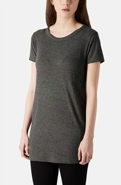 Topshop - Ribbed Jersey Tunic Tee (in Charcoal) www.nordstrom.com $24.00