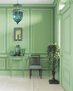 Shades of green, green lantern - Martha Stewart Living Two Tone Walls, Home Interior, Interior Design, Interior Paint, Monochromatic Room, Monochrome, Painting Trim, Painting Paneling, Green Rooms