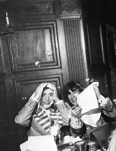 Charlie & Bill survived the food fight at the Beggers Banquet launch party, The Gore Hotel, London 1968