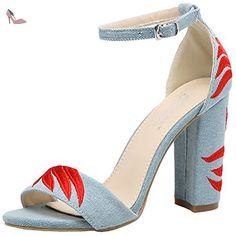 Oasap Women's Open Toe Chunky Heels Ankle Strap Embroidery Sandals, Light Blue EURO38/US7/UK5 - Chaussures oasap (*Partner-Link)