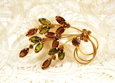 Vintage Crystal Leaf Spray Pin Brooch by SpiralCreations on Etsy