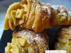 La cocina de Samira: Conos de hojaldre rellenos de crema de turrón