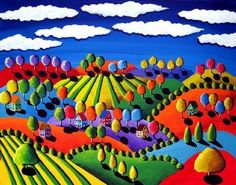 Tuscan Scene Folk Art Giclee PRINT  #Colorful and whimsical version of a Tuscan scene.