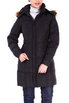 Jessie G. Women's Down Parka Coat with Faux Raccoon Fur Trim Hood