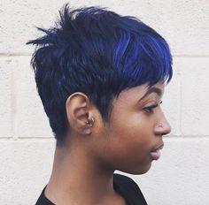 Black Girl Short Hairstyles, Short Sassy Hair, Short Hair Cuts, Straight Hairstyles, Short Hair Styles, Blue Hairstyles, Short Pixie, Messy Pixie, Scene Hairstyles