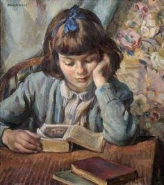 The young reader, 1945 by Miguel Mackinlay born 1895 in Guadalajura, Spain died 1958