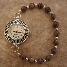 Items similar to Beaded Watch - Brown and Silver Stretch on Etsy Beaded Jewelry, Jewelry Bracelets, Handmade Jewelry, Beaded Watches, Jewelry Watches, Watch Diy, Expensive Jewelry, Stylish Watches, Watch Bands
