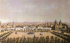Vista de la Plaza Mayor de Mendoza por Anton Goering.