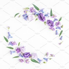 Wreath made of various colorful flowers on white background. Flat lay, top view This item includes 1 JPEG file License terms: More floral Website Images, How To Make Wreaths, Top View, Colorful Flowers, Photo Art, Floral, Flowers, Flower