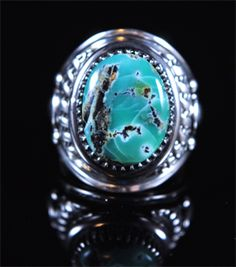 Handmade ring, with natural gem grade Desert Gem Variscite, by Navajo artist Derrick Gordon.