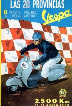 Buy online, view images and see past prices for NAVARRO WOJNARSKI - Vespa 2500 Km 15 21 Junio 1959 très rare Invaluable is the world's largest marketplace for art, antiques, and collectibles. Piaggio Scooter, Vespa Lambretta, Vespa Scooters, Bike Poster, Motorcycle Posters, Vespa Images, Vespa Illustration, Madrid, Italian Scooter
