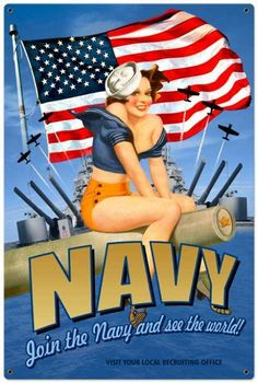 Vintage-Retro Navy Pinup Metal-Tin Sign