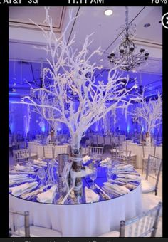 (Not exactly this image) A tree covered with sparkling ice drops as well as small lights (to look like flames) would be a cool centerpiece