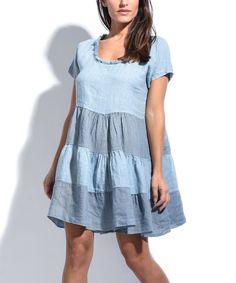 Sky Blue Stripe Fringe-Neck Linen Shift Dress
