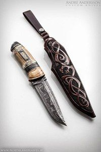 André Andersson Custom Damascus Knives - Knives, Daggers, Swords and Artknives from Sweden Cool Knives, Knives And Tools, Knives And Swords, Damascus Knife, Damascus Steel, Lame Damas, Dagger Knife, Knife Art, Swords And Daggers