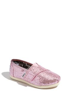 BOTH my girls LUV their sparkle TOMS. Pink for P, silver for D:)