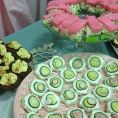 Old fashion tea party Finger Sandwiches...egg salad, cucumber cream cheese, chicken salad on dyed bread!  Classic yum!