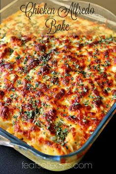 Chicken and bacon pasta bake - yupfoodie chicken alfredo casserole, baked chicken fettuccine alfredo recipe Pasta Dishes, Food Dishes, Chicken And Bacon Pasta Bake, Baked Chicken Pasta Recipes, Crispy Cheddar Chicken, Cooking Recipes, Healthy Recipes, Keto Recipes, How To Cook Pasta