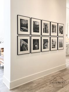 Black Frames On Wall, Frame Wall Collage, Gallery Wall Frames, Photo Wall Collage, Gallery Walls, Photo Frames On Wall, Black Framed Wall Art, Hallway Pictures, Photo Wall Decor