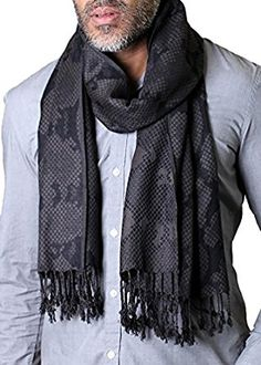 Anika Dali Men's Python Pattern Scarf with Tassels in Black / Grey, Silky Soft at Amazon Men's Clothing store: Fashion Scarves