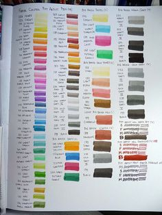 Pitt Artist Pen color chart on sketchbook paper 2 by betolung, via Flickr
