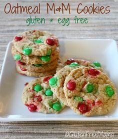 Gluten Free Mama's Favorite Cookie ~ Oatmeal M & M Cookies ~Gluten Free & Egg Free