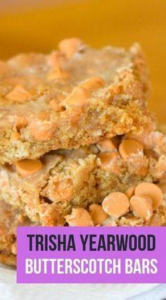 Trisha Yearwood s Butterscotch Bars Bar Recipes Butterscotch Recipes bars dessert recipe Diy Dessert, Dessert Party, Party Buffet, Breakfast Dessert, Tastemade Dessert, Köstliche Desserts, Delicious Desserts, Yummy Food, Yummy Dessert Recipes