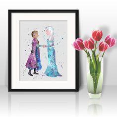Digital printing – Princess Elsa and Anna Frozen Disney Print Art  – a unique product by DigitalAquamarine on DaWanda