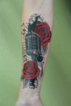 Arm Microphone Flower Realistic Tattoo by Skin Deep Art