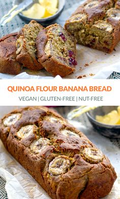 Looking for quinoa flour recipes? Try this delicious moist and fluffy Quinoa Flour Banana Bread. Made with mashed bananas ground flaxseed quinoa flour and stevia it's gluten-free vegan and nut-free. Flours Banana Bread, Banana Bread Recipes, Best Nutrition Food, Health And Nutrition, Nutrition Products, Gluten Free Recipes, Baking Recipes, Vegan Recipes, Quinoa Flour Recipes
