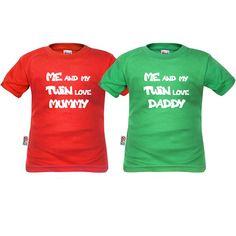 2 tee shirts enfant : me and my twin love mummy / daddy - SiMedio