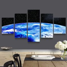 Aliexpress.com : Buy 5 Panel Modern Printed Cosmos Universe Space Landscape Canvas Painting Picture Earth Painting For Living Room Unframed PR1115 from Reliable painting concrete suppliers on XuanYi Home Arts co., Ltd   Alibaba Group