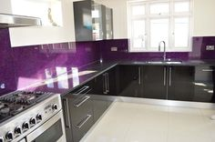 Purple Haze -Luxury kitchen glass splashbacks. LUXURY COLLECTION SPLASHBACKS is characterised by its impressive deep textured design and wide range of shimmering colours and sparkling effects complimented with great properties of a safety glass. #kitchen