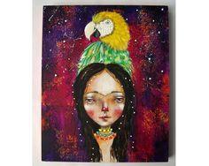 folk art Original Frida girl painting whimsical by thesecrethermit