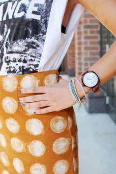 polka dot skirt + graphic tee.
