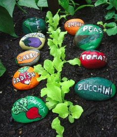 Vegetable garden markers painted on stones