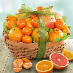 Sweet Sunshine Citrus Basket: Sweet, juicy and refreshing, every piece of this citrus assortment is a special treat!    Includes: 4 Navel Oranges, 2 Ruby Grapefruit, 3 Seasonal Citrus, 5-8 Mandarins