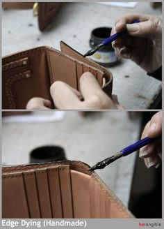 Edge dying (or edge staining) is the process by which the sharp edges of the leather are rounded by applying an acrylic dye in order to hold down the edge fibers of the leather. Several dye layers may
