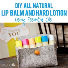 All Natural Lip Balm recipe using Essential Oils. This is GOOD stuff!! #diy #lipbalm #recipe from howdoesshe.com