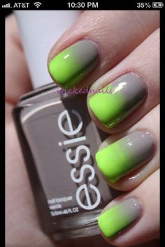 Ombre nails lime green slate grey