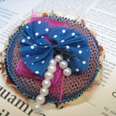 SALE Up-Cycled Blues and Pink Bow Fabric Hair Clasp £4.00