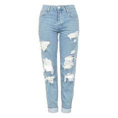 Women's Topshop 'Hayden' Super Ripped Boyfriend Jeans ❤ liked on Polyvore featuring jeans, pants, denim jeans, blue jeans, distressed boyfriend jeans, light wash ripped jeans and boyfriend jeans