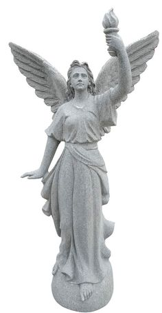 This is a beautifully carved Angel of Light Statue. Comes in five sizes: 2′, 3′, 4′, 5′, and 6′. Standard material is Gray Granite.