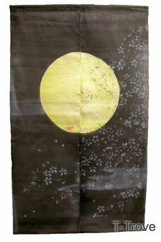 Noren or Door Curtain Black with Moon and Spring Flowers by T-Trove. $64.00