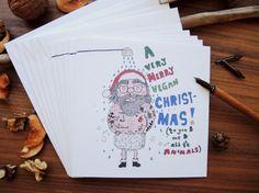 Vegan Christmas Card Set 5 pieces A very VEGAN by mishishki