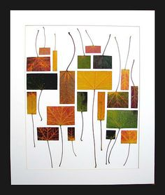 Love this idea of taking leaves and cutting to a differnt shape to make an art collage very vcool - Owen Mortensen is the artist